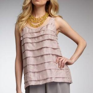 Eileen Fisher habotai tiered silk tank top rose